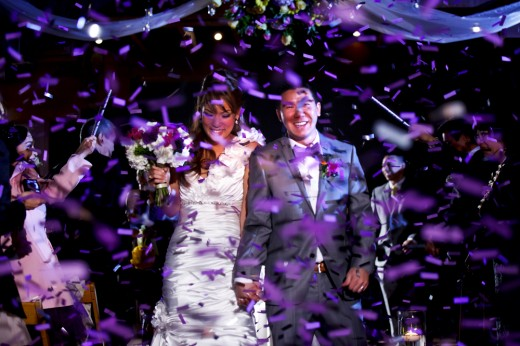 Bride and groom processional with confetti