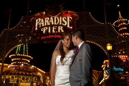 Couple at Paradise Pier in Disneyland