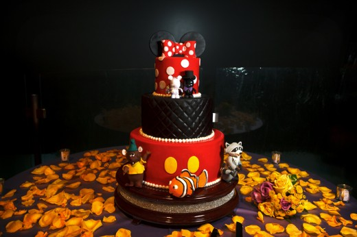 Disneyland Mickey and Minnie inspired wedding cake
