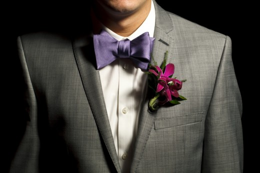 Boutonniere on a groom in Disneyland