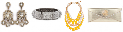 Earrings, bangles and handbags from Rent the Runway