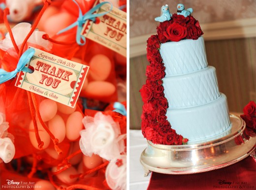Blue wedding cake with cascading red roses